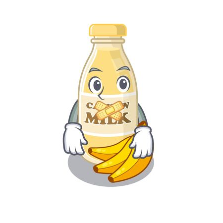 cartoon character design cashew milk making a silent gesture
