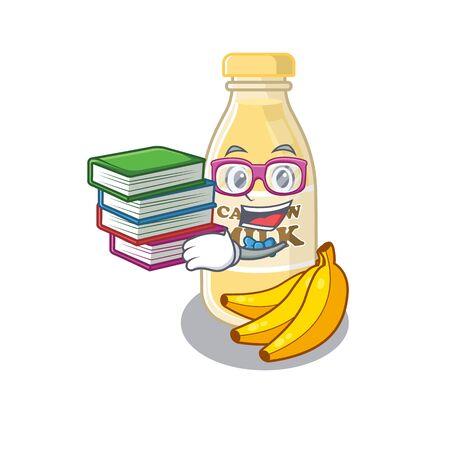 mascot cartoon of cashew milk studying with book Ilustração