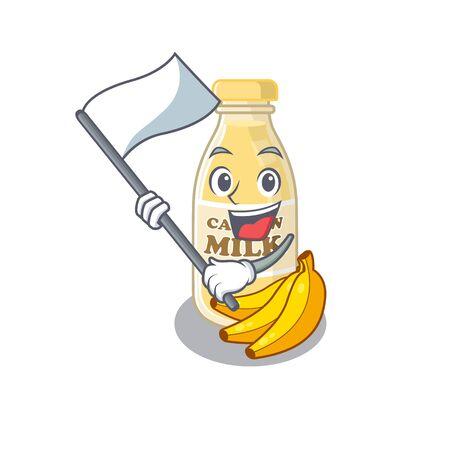 Funny cashew milk cartoon character style holding a standing flag Ilustração