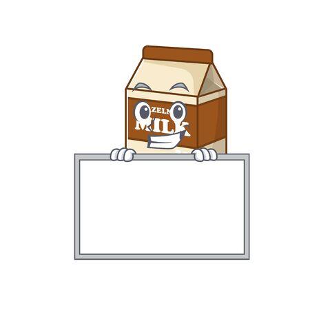 Hazelnut milk cartoon design concept grinning with board. Vector illustration Vettoriali