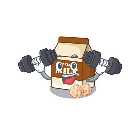 Sporty Fitness exercise hazelnut milk mascot design using barbells. Vector illustration