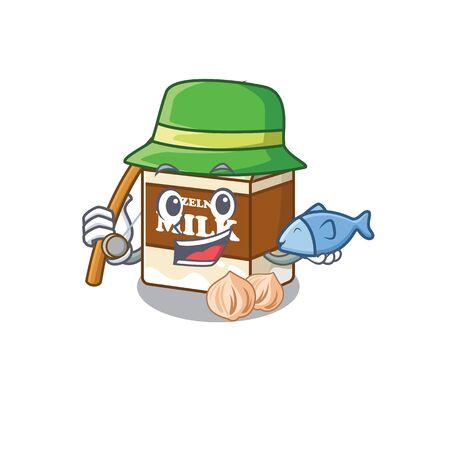 A Picture of happy Fishing hazelnut milk design. Vector illustration