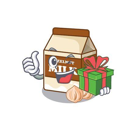 Happy hazelnut milk character having a gift box. Vector illustration