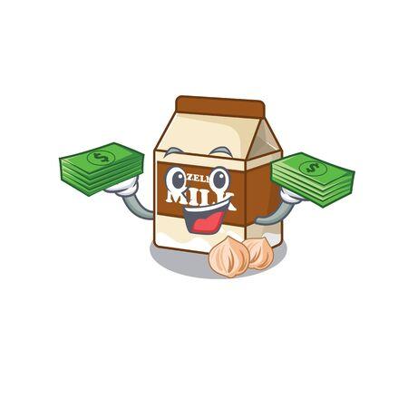 cool rich hazelnut milk character having money on hands. Vector illustration