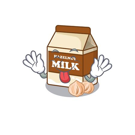 Funny hazelnut milk mascot design with Tongue out. Vector illustration