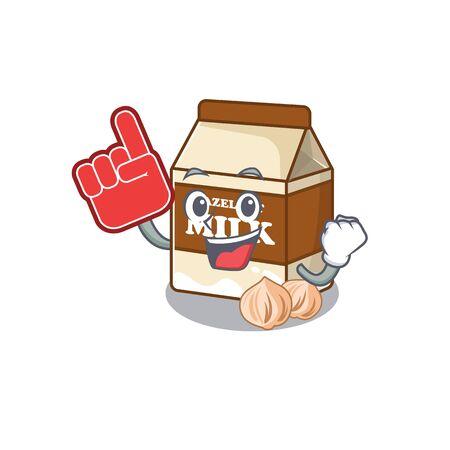 A picture of hazelnut milk mascot cartoon design holding a Foam finger