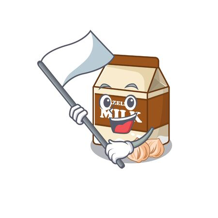 Funny hazelnut milk cartoon character style holding a standing flag