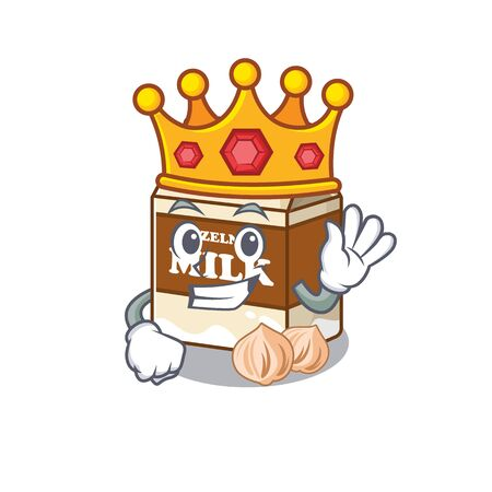 A cartoon mascot design of hazelnut milk performed as a King on the stage