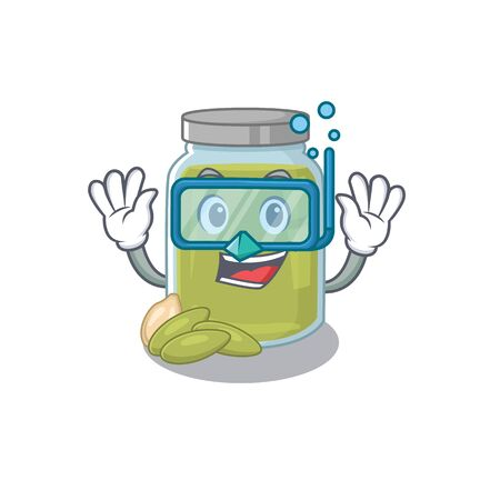 cartoon character of pumpkin seed butter wearing Diving glasses. Vector illustration