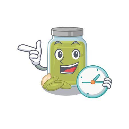 cartoon character concept pumpkin seed butter having clock. Vector illustration Ilustração