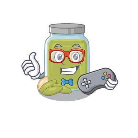 Smiley gamer pumpkin seed butter cartoon mascot style. Vector illustration Vector Illustration