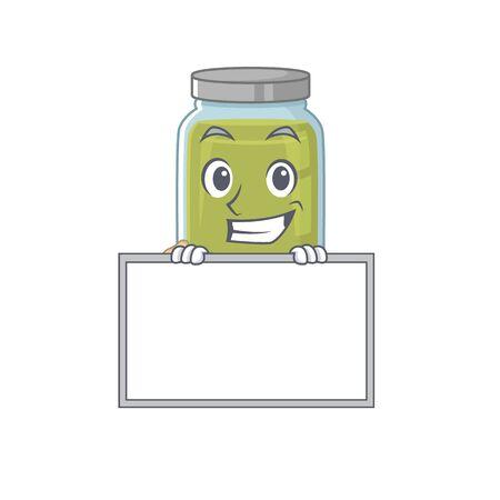 Pumpkin seed butter cartoon design concept grinning with board. Vector illustration