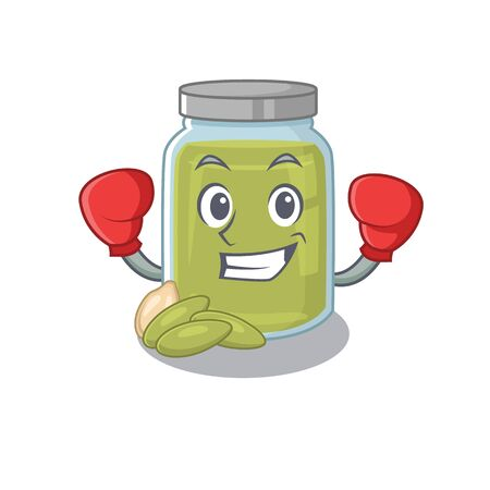 mascot character style of Sporty Boxing pumpkin seed butter. Vector illustration Ilustração