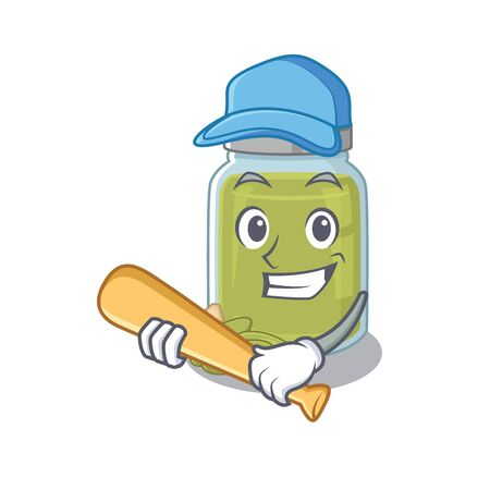 Smiley Funny pumpkin seed butter a mascot design with baseball. Vector illustration