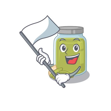Funny pumpkin seed butter cartoon character style holding a standing flag. Vector illustration