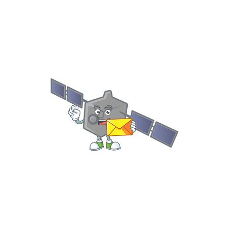 Happily satellite network mascot design style with envelope