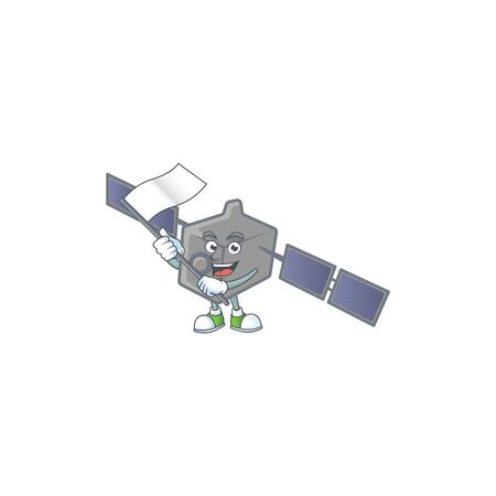 Funny satellite network cartoon character design with a flag 일러스트