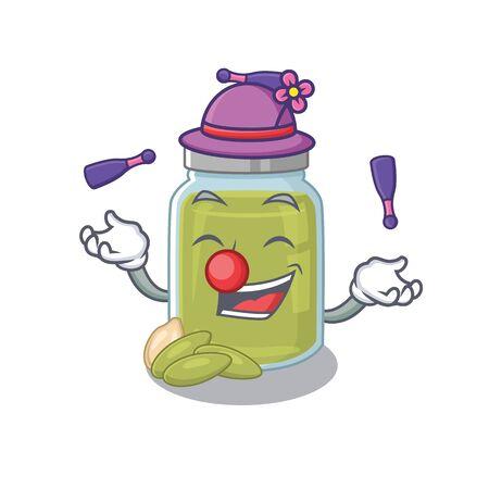 a lively pumpkin seed butter cartoon character design playing Juggling. Vector illustration Foto de archivo - 140900686