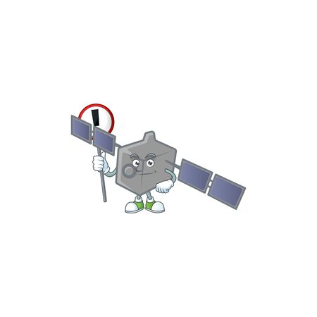 Cartoon character design of satellite network rise up a broad