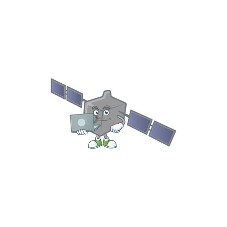 A smart satellite network mascot icon working with laptop