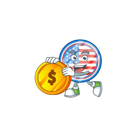an elegant circle badges USA mascot cartoon design with gold coin Stock Illustratie