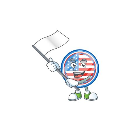 Funny circle badges USA cartoon character design with a flag