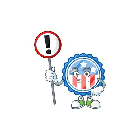 Cartoon character design of circle badges USA with star rise up a broad