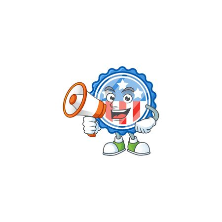 A chilly cartoon character of circle badges USA with star with a megaphone