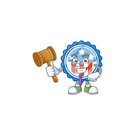 A wise Judge circle badges USA with star in comic strip character design