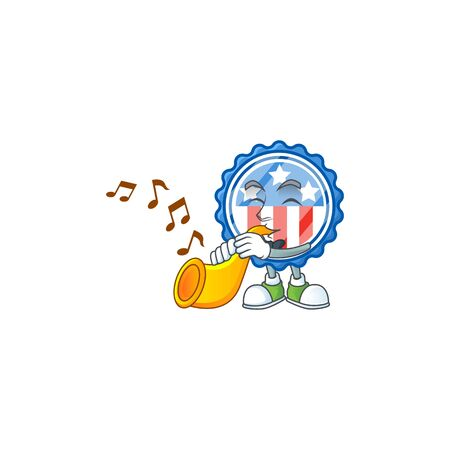 cartoon character style of circle badges USA with star playing a trumpet