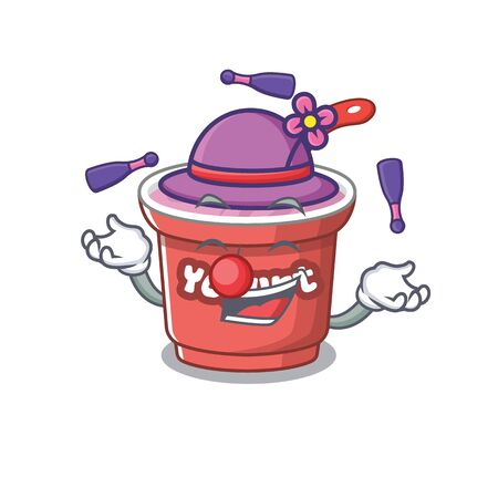 a lively yogurt cartoon character design playing Juggling. Vector illustration