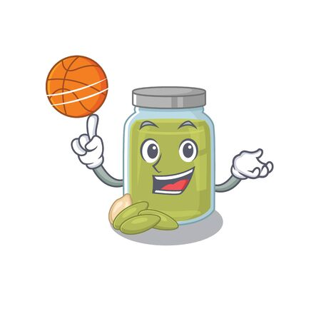 A mascot picture of pumpkin seed butter cartoon character playing basketball. Vector illustration Ilustração