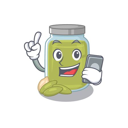 Pumpkin seed butter Cartoon design style speaking on a phone. Vector illustration