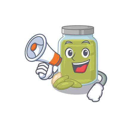 A mascot of pumpkin seed butter speaking on a megaphone. Vector illustration Vettoriali