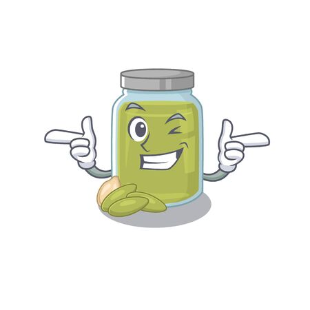Cute mascot cartoon design of pumpkin seed butter with Wink eye. Vector illustration Çizim