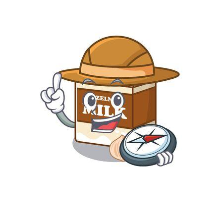 Hazelnut milk experienced Explorer using a compass. Vector illustration 向量圖像