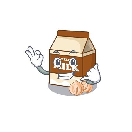 Call me funny hazelnut milk cartoon character concept. Vector illustration
