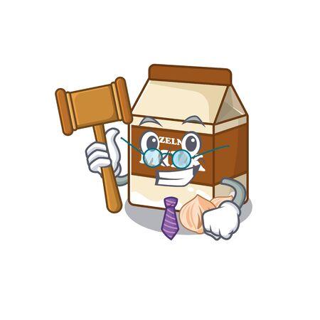 Smart Judge hazelnut milk in mascot cartoon character style. Vector illustration Ilustrace