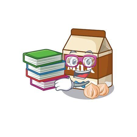 mascot cartoon of hazelnut milk studying with book. Vector illustration