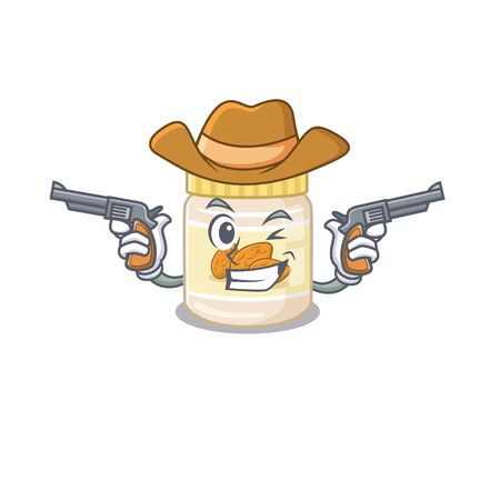 Almond butter Cowboy cartoon concept having guns. Vector illustration 일러스트