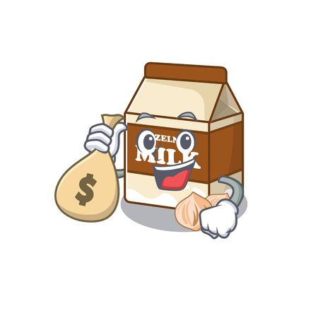 Rich and famous hazelnut milk cartoon character holding money bag. Vector illustration