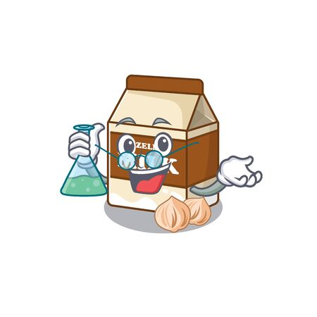 Cool hazelnut milk Professor cartoon character with glass tube. Vector illustration