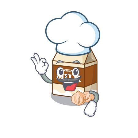 Hazelnut milk cartoon character working as a chef and wearing white hat. Vector illustration