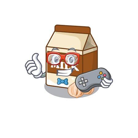 Smiley gamer hazelnut milk cartoon mascot style. Vector illustration