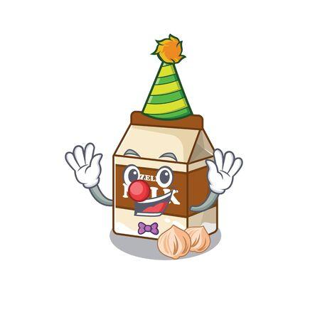Funny Clown hazelnut milk cartoon character mascot design. Vector illustration
