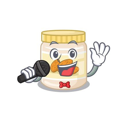 Happy almond butter singing on a microphone. Vector illustration