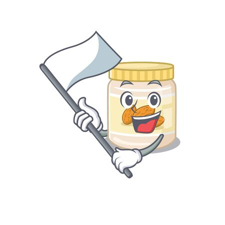 Funny almond butter cartoon character style holding a standing flag. Vector illustration