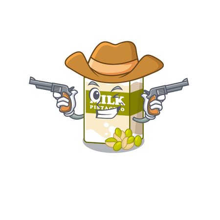 Pistachio milk Cowboy cartoon concept having guns. Vector illustration 矢量图像