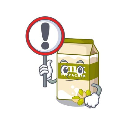 cute mascot character style of pistachio milk raised up a sign. Vector illustration