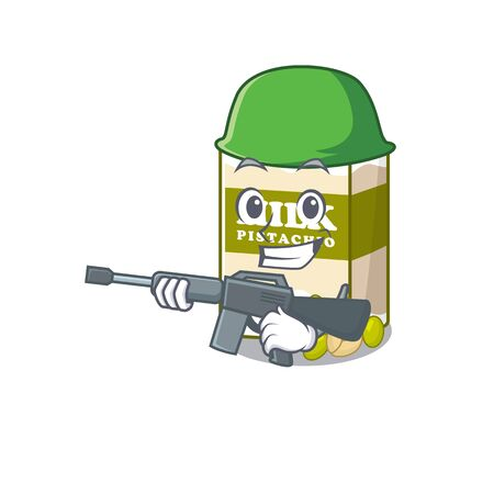 A cute picture of pistachio milk Army with machine gun. Vector illustration